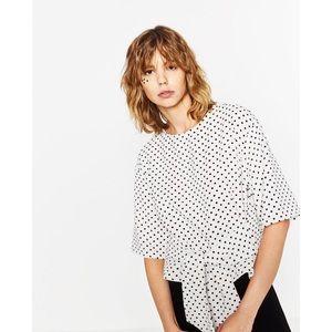 Zara Polka Dot Black and White Tie Top